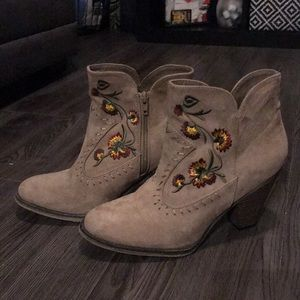 short embroidered brown bootie